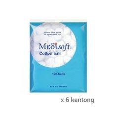 Medisoft Cotton Balls / Kapas Bulat [ Paket 6 Kantong / 1 Kantong isi 120 Kapas Bulat ]