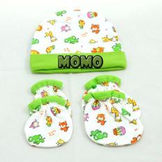 MOMO Baby Topi Set Plus Sarung Tangan Kaki Mamimu Motif Animal Hijau - Topi Set Bayi