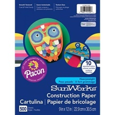 Pacon SunWorks Heavyweight Construction Paper 9-inches by 12-inches 500-count Assorted (CON01500) - intl