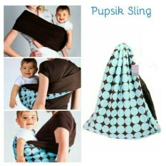 Pupsik Studio Baby Pouch Carrier Blue / Gendongan Instant Modern