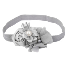 RIS  Grey Flower Baby Girls Headband Photography Props Hair Band
