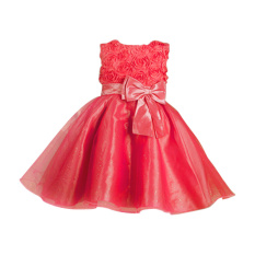 Rorychen Floral Girls Lace Sleeveless Dress(Watermelon Red)