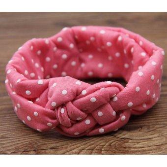 Sablon simpul rambut Band Kids rambut aksesoris elastis katun Headband hiasan kepala Pink .