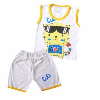 Skabe Baju Anak Bayi Putih Singlet Stelan Kaos 2085 - Kuning