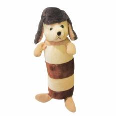 Spicegift 1 Pasang (2 pcs) Guling Garis Boneka Anjing (Dog) Poodle Coklat Muda