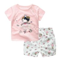 Summer Baby Boy Girl Clothing Sets Short Top + Pants 2pcs/set Cartoon Sport Suit Baby Clothing Set Newborn Infant Clothing - Pink - intl