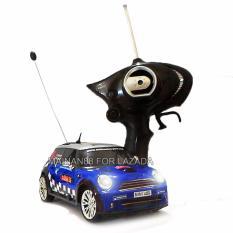 Super Racer RC Mobil Drift 4WD Mini Cooper Body Metal Skala 1/24 - Biru