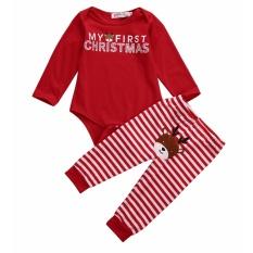 Xmas Newborn Baby Boys Girls Romper Jumpsuit Bodysuit+Pants Clothes Outfit - intl