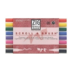 Zig MS50008V Zig Memory System Scroll and Brush Dual-Tip Markers 8-Pkg - intl