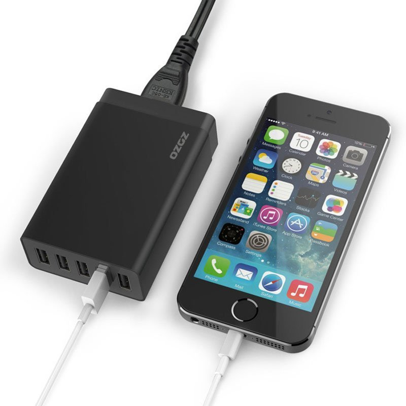 40W8A 5-Port High Speed USB Smart Desktop Charger Power Adapter for iPhone/iPad/Samsung Galaxy Black (Intl)