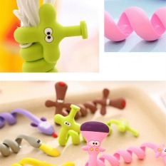 4ever 10pcs Silicone Cute Cartoon Earphone Headphone Cable Winder Cord Holder Wrapped Thread