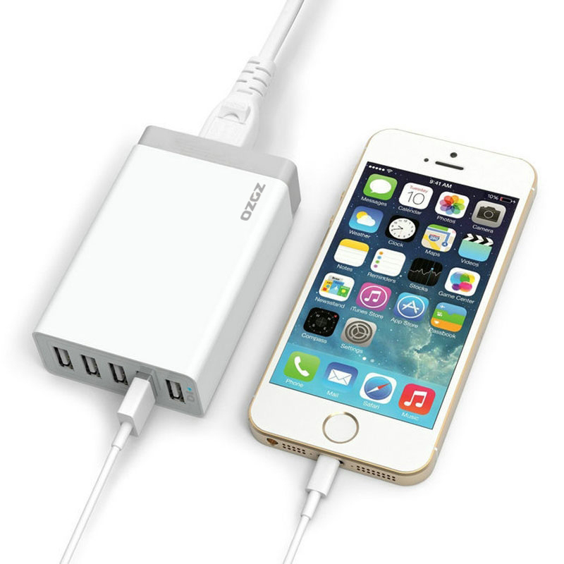 5 Port 40W High Speed USB Smart Desktop Charger Power Adapter for iPhone/iPad Air 2/Samsung Galaxy white (Intl)