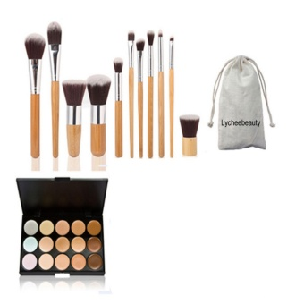 15 Colors Face Concealer Camouflage Cream Contour Palette And 11Pcs Makeup Brushes Set Bamboo Handle Eyeshadow Foundation Brush -intl