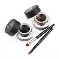 2Pcs Waterproof Eye Liner Eyeliner Shadow Gel Makeup Cosmetic Brush Brown Black - intl