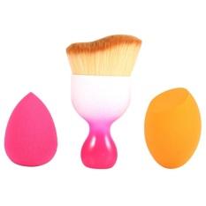 3PCS Foundation Brushes Set Makeup Tool Sponge Blender(Rose Red) - intl