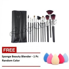 Kuas Make Up - 12 Pcs + Free Spon Beauty Blender Foundation Sponge Telur -Multicolor - 1 Pc