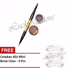 Landbis Eyebrow Gel 3 In 1 Eyeliner & Brush No.3 - Natural Brown + Free Cetakan Alis 3 Pcs