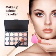 M.N. Makeup Concealer Palette 15 Warna + Water Sponge + Puff Powder Brush