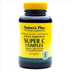 Nature's Plus Super C Complex Sustained Release 60's - Vitamin C 1000 Mg, Meningkatkan daya Tahan Tubuh, Kekebalan Tubuh, Imunitas, Antioksidan, Kolagen, Mencegah Flu
