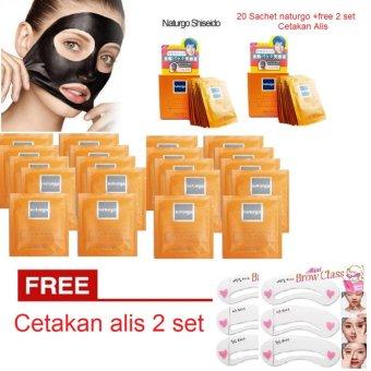 Naturgo Masker Lumpur - 20 Pcs + Gratis 2 Pax Cetakan Alis Mini Brow Class Eyebrow 3 in 1