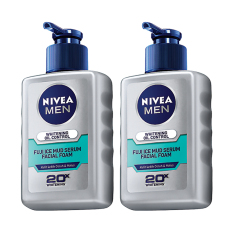 Nivea Men Whitening Oil Control Fuji Ice Mud Facial Foam - 2x120 ml - Paket isi 2 Dengan Harga Spesial