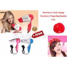 Nova Hair Dryer N-658 Hair Drayer + Gratis Strawberry Hair Curler - Magic Strawberry Roll Sponge Hair Curler Tanpa Catok