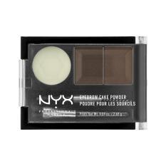 NYX Professional Makeup Eyebrow Cake Powder Dark Brown/Brown - Bedak Alis Dua Warna dengan Wax