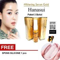 Paket 3 pcs Whitening Serum Gold Hanasui Original -@ 20ml FREE Spons Silicon