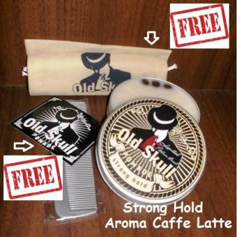 Pomade Oldskull Strong Hold Coffelatte + Free Pouch + Free Bubble Wrap + Free Sisir