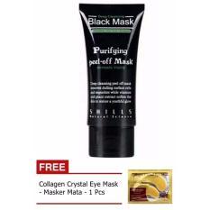Shills Black Mask Kiss Beauty Deep Cleansing Acne Purifying Peel-off / Masker Wajah dan Komedo + Gratis Collagen Crystal Eye Mask - Masker Mata - 1 Buah