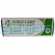 SURGI-CARE Masker 50's 3 Ply Earloop Surgical Face Mask - Masker Wajah, Masker Nafas, Masker Kesehatan, Masker Bedah