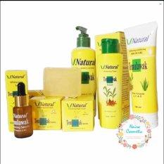 Temulawak Cream V Natural BPOM - V Natural Paket Komplit ( Cream Siang, Malam, Sabun, Serum, Toner, Peeling Gel dan Lotion )