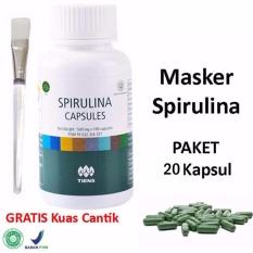 Tiens Masker Spirulina Herbal Pemutih Wajah - Paket 20 Kapsul + Gratis Kuas Masker - 1Pcs
