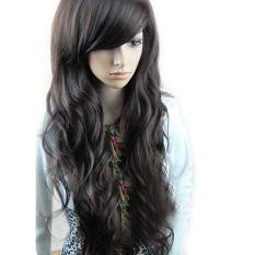 Wanita dengan rambut palsu keriting bergelombang panjang hitam rambut Wig - International