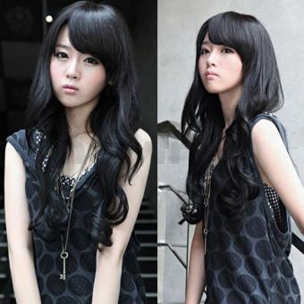 Wanita rambut bergelombang panjang klip memakai ekstensi rambut palsu panjang 55 cm w 25 cm -