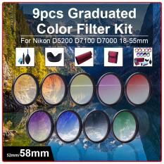 58mm 9pcs Grad Graduated Color Filter Kit + Cleaning Kit For DSLR Camera