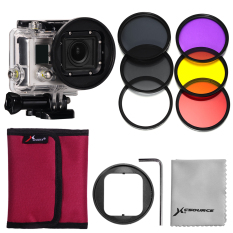 58mm Adaptor +6pcs Filters(Red+Yellow+purple+UV+CPL+ND4) for Gopro Hero 3 - Intl