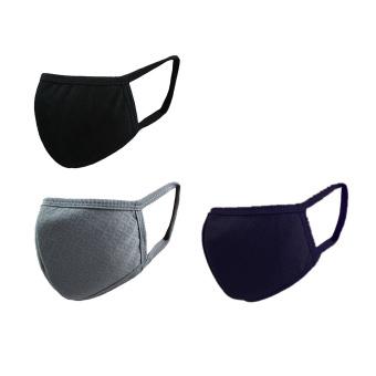 3 buah unisex Pria Wanita kenyamanan anti debu & kabut PM2.5pelindung mulut masker kapas