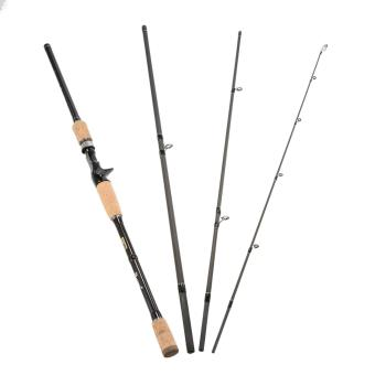 4 Sections Carbon Fiber Portable Baitcasting Spinning Fishing Rod Medium Rod Fishing Pole for Saltwater and Freshwater