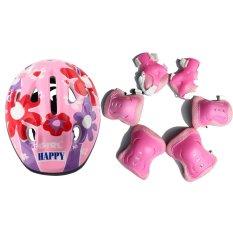 7 buah/set untuk anak pelindung kepala lutut siku tangan bantalan (Berwarna Merah Muda)