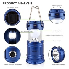 Aimons Lampu Senter Lentera Emergency LED Solar Rechargeable Camping Light with Flashlight- Biru