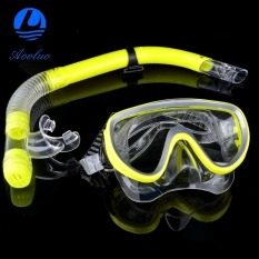 Aooluo New Fashion The Swimming Pool Diving Equipment Anti Fog Goggles Scuba Mask Snorkel Glasses (Yellow)
