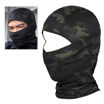 Camouflage Hood Ninja Outdoor Cycling Motorcycle Hunting MilitaryTactical Helmet Liner Gear Full Face Mask (Black Camouflage) - intl