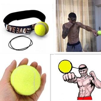 Fight Elastic Ball with Head Band for Reaction Speed TrainingBoxing Punch Exercise Color:Yellow - intl