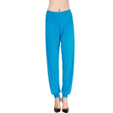 LALANG Women Sports Yoga Pants Bloomers Harem Trousers Stretch Lake Blue