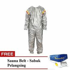 Lucky -Sport Sauna Suit Baju Sauna Pembakar Lemak - Silver + Gratis Sauna Belt - Sabuk Pelangsing / 1Pcs
