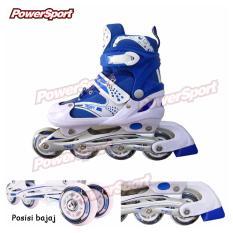 Power Sport in Line Skate Sepatu Roda 2 in 1 Adjustable Wheel - Biru