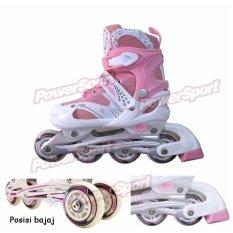 Power Sport in Line Skate Sepatu Roda 2 in 1 Adjustable Wheel - Pink