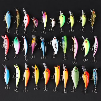 Sunweb Colorful Lot 30pcs Kinds of Hard Fishing Lures Crankbaits with Hooks Minnow Baits Tackle - intl