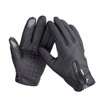 Winter&Autumn Windproof Waterproof Touch Screen Sports GloveBikes Motorcycle Black M - intl